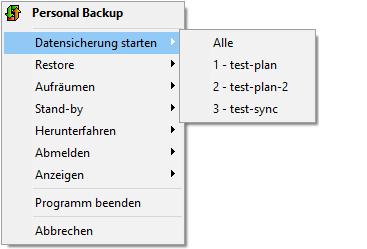 Personal Backup - Taskleiste