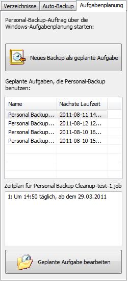Personal Backup Aufgabenplanung